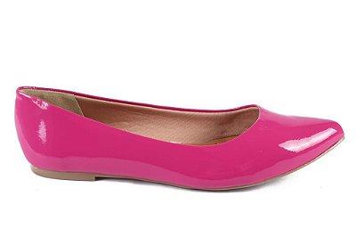 Sapatilha Bico Fino em Verniz Pink Sua Cia