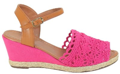 Sandália Anabela de Crochê Pink Arez
