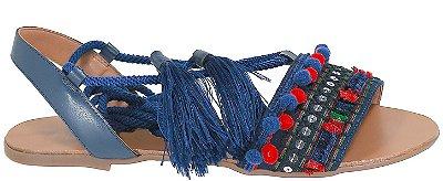 Rasteira Azul Marinho de Amarração com Pompom Arez