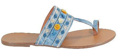 Rasteira Jeans com Detalhes Bordados Arez