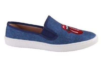Tênis Slip On Jeans com Patches Sua Cia