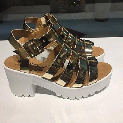 Sandália Flatform Tratorada Dourada Arez