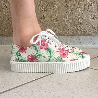 Tênis Branco com Estampa Floral Sua Cia