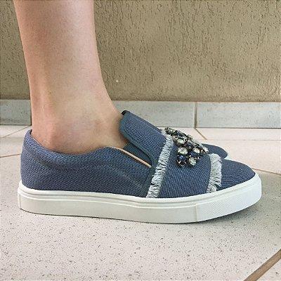 Tênis Slip On Jeans com Bordado de Pedras Zatz