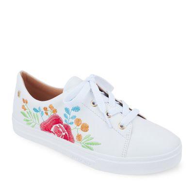Tênis Off White com Bordado Floral Petite Jolie