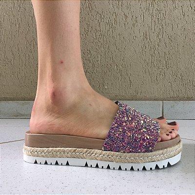 Slide Nude de Glitter Holográfico Zatz