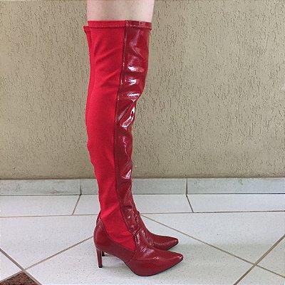 Bota Over The Knee de Verniz Vermelho Lia Line
