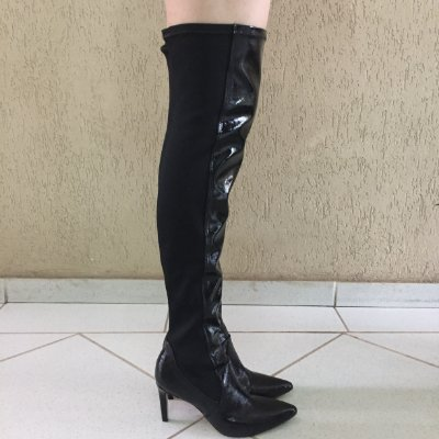 Bota Over The Knee de Verniz Preto Lia Line
