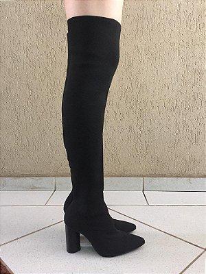 Bota Over The Knee de Elástico Preta Suzana Santos