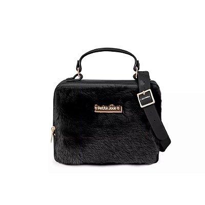 Bolsa Box Bag de Pêlo Preta Petite Jolie