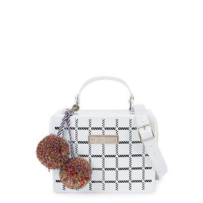Bolsa Box Bag com Estampa Xadrez e Pompom Petite Jolie