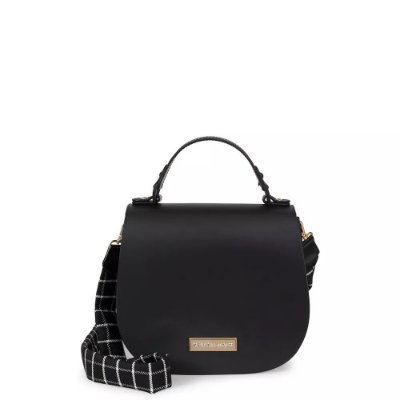 Bolsa Saddle Bag com Alça Xadrez Petite Jolie