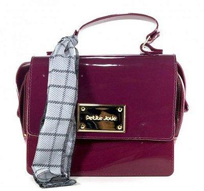 Bolsa Box Bag com Tampa e Lenço Xadrez Petite Jolie