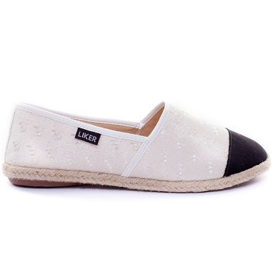 Alpargata Branca com Biqueira Preta Liker Shoes
