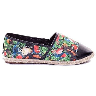 Alpargata Estampada com Biqueira Preta Liker Shoes