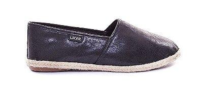 Alpargata de Couro Preta Liker Shoes