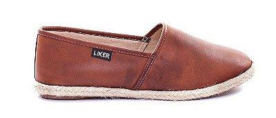Alpargata de Couro Marrom Liker Shoes