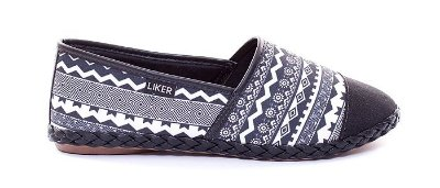 Alpargata Estampa Preto e Branco com Biqueira Liker Shoes