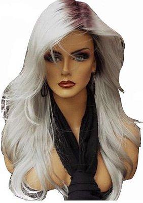 Meia Peruca Hair Wig  Cor da foto raiz escura com loiro platinado