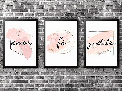KIT COM 3 QUADROS - Gratidão, Fé e Amor (1)