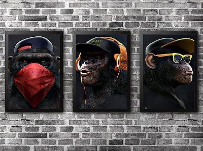 KIT COM 3 QUADROS - Monkeys