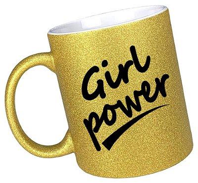 Caneca Girl Power (1) glitter dourada