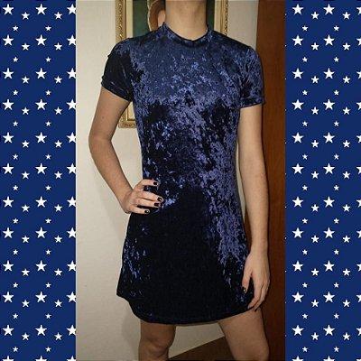 Vestido de veludo molhado azul /tamanho P