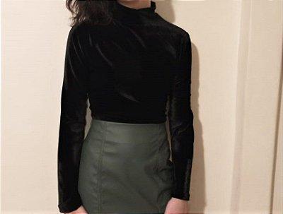 Blusa  de veludo cristal preta