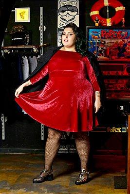 Vestido Plus Size Godê Veludo Vinho