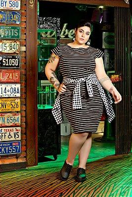 Vestido Plus Size Lápis Listra Rosé