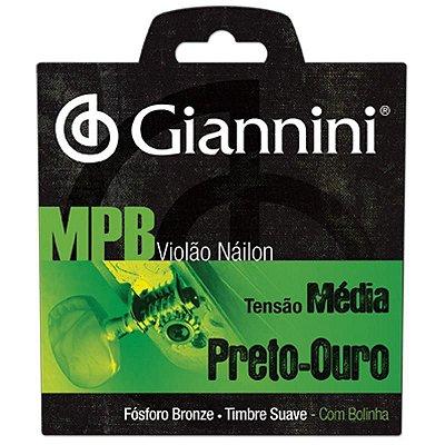 Enc Violão Nylon Tensão Média Série MPB Preto/Ouro Com Bolinha GENWBG - Giannini