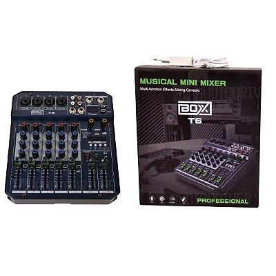 Mixer Mesa de Som 6 Canais T6 - Boxx
