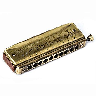 Harmonica Vintage Blues 40 em Sol 1040G - Hering
