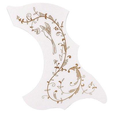 Escudo para Violão Vintagem Branco Floral - Ronsani