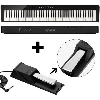 KIT Piano Digital Privia PX-S1000 BK + Pedal Sustain - Casio