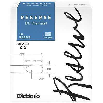 Palheta para Clarinete 2.5 DCR1025 Unidade - Rico Reserve