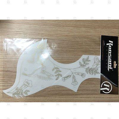 Escudo Violão Humming Bird Long Floral Branco 308 - Ronsani