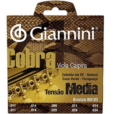 """Encordoamento Viola Bronze 80/20 Cebolão """"D"""" (Ré) Série Cobra CV82M - Giannini"""