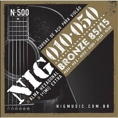 Encordoamento Violão Aço Bronze 010 80/15 N500 - NIG