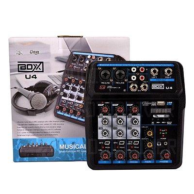Mixer Mesa de Som 4 Canais com Efeito, Bluetooth e MP3 U4 - Boxx