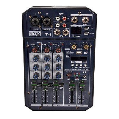 Mixer Mesa de Som 4 Canais T4 - Boxx