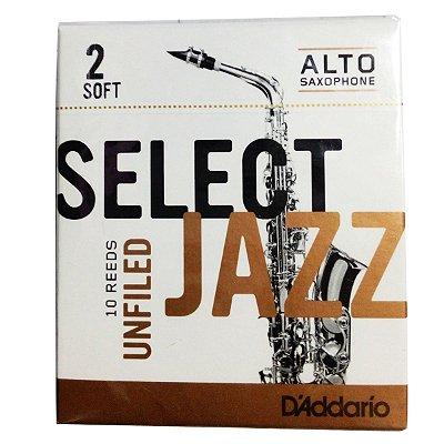 Palheta Sax Alto 2 Select Jazz RRS10ASX2S Caixa c/ 10 - D'addario