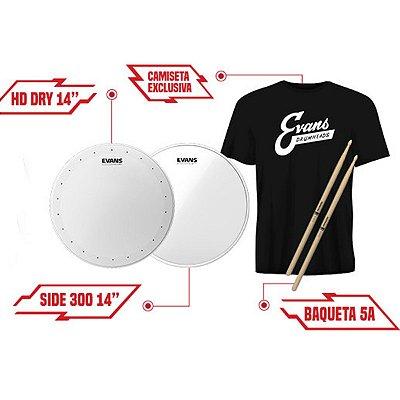 """Kit Snare Pele de Caixa 14"""" com B14HDD + S14H30 + TX5AW + Camiseta Evans"""