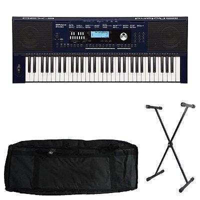 Kit Teclado Roland Arranjador E-X30 -Roland com Capa estofada e Suporte