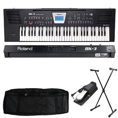 Kit Teclado Roland Arranjador Bk-3 Backing Keyboard com Capa estofada, Suporte e Pedal Sustain