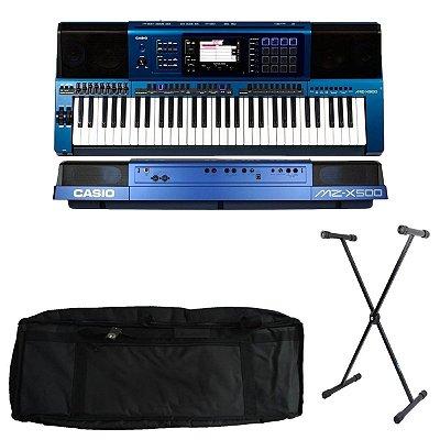 Kit Teclado Casio Arranjador e Sintetizador MZ-X500 61 Teclas Azul com Capa estofada e Suporte