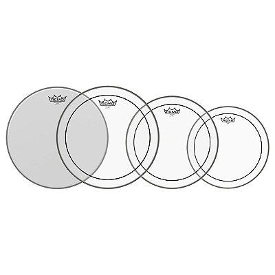 """Kit de Pele 10-12-14 Pinstripe Duplo Filme Transparente + 14"""" Ambassador Porosa PP-0110-PS - Remo"""