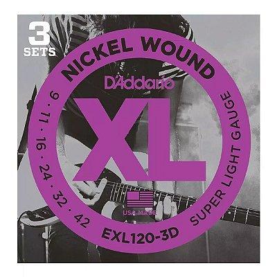 Kit 3 Encordoamento Guitarra 009 EXL120-3D C/3 - D
