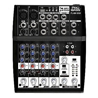 Mixer Mesa de Som 6 Canais c/ USB PL-804 USB- Pro Bass