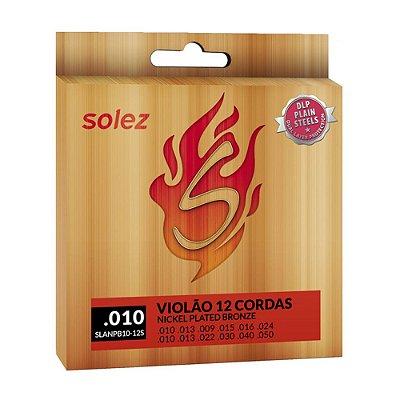 Encordoamento Violão 12 Cordas 0.10 Nickel Bronze SLANPB10 12S - Solez